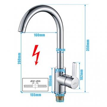 Auralum® 360° Drehbar Niederdruck Wasserhahn Niederdruck Mischbatterie Küchenarmatur - 6