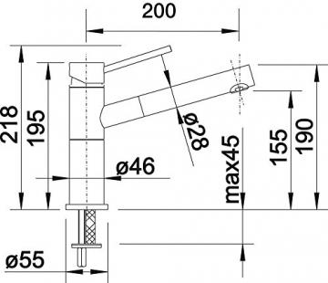 Blanco ALTA-S Compact Küchenarmatur, metallische Oberfläche, chrom, Niederdruck, 1 Stück, 518448 - 4