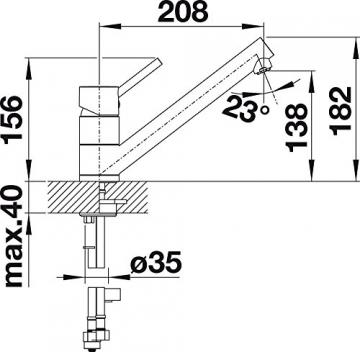 Blanco ANTAS Küchenarmatur, Silgranit-Look, alumetallic / chrom, Niederdruck, 1 Stück, 516104 - 4