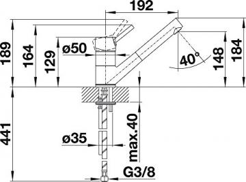 Blanco ANTAS-S Küchenarmatur, Silgranit-Look, anthrazit / chrom, Niederdruck, 1 Stück, 516772 - 4