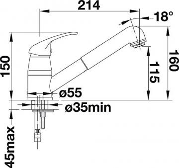 Blanco DARAS-S Küchenarmatur, metallische Oberfläche, Niederdruck, chrom, 1 Stück, 519724 - 4