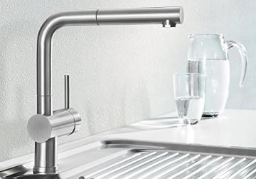 Blanco LINUS-S Küchenarmatur, metallische Oberfläche, Edelstahl finish, Niederdruck, 1 Stück, 512202 - 2