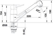 Blanco Orion-S Chrom Niederdruck Küchenarmatur schlauchbrause Einhandmischer HD - 3