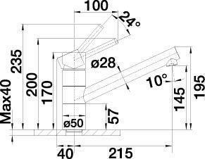 Blanco Tivo Alumetallic Niederdruck Küchenarmatur Einhandmischer Mischbatterie - 3