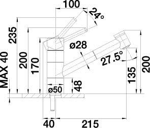 Blanco Tivo-S-F Chrom Niederdruck Armatur Schlauchbrause Einhandmischer Küche ND - 2