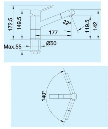 Blanco Zenos-S Chrom Niederdruck Armatur Spültisch Einhebelmischer Mischbatterie - 2