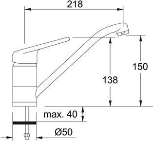 Franke 751 Onyx Niederdruck Mischarmatur Schwarz Granit Wasserhahn Festauslauf - 2