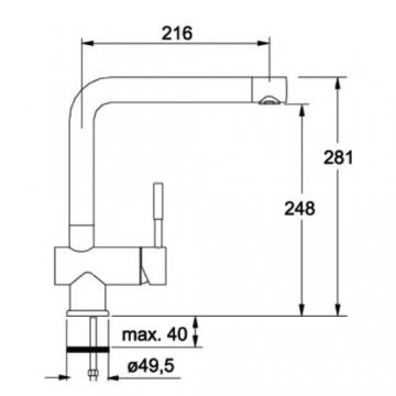 Franke Niederdruck Armatur Typ 371-1 Einhebelmischer mit Festauslauf Edelstahloptik - 2