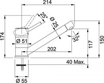 Franke Sinta Graphit Niederdruck Armatur Granit Grau Festauslauf Mischbatterie - 3