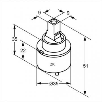 Kludi 7480500-00 Kartusche für Einhandmischer und Niederdruck 35 mm - 3