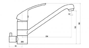 Niederdruck Küchenarmatur Gussauslauf mit Maschinenanschluss Geräteanschluss Küche Armatur Einhebelmischer Wasserhahn - 2