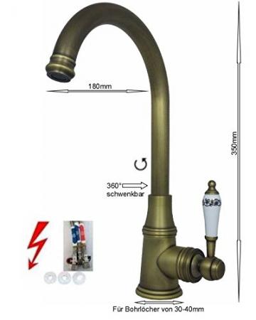 Niederdruck Küchenarmatur Spültischarmatur Bronze alt Messing - 2