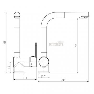 Niederdruck Spültisch Armatur in Edelstahloptik Wasserhahn Küche mit Brause mit hohem Rundbogenauslauf inkl. Befestigungsmaterial und Montageanleitung - 3