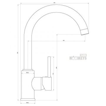 Niederdruck Wasserhahn Spültisch Armatur Küche Mischbatterie mit hohem Auslauf inkl. Befestigungsmaterial und Montageanleitung - 2