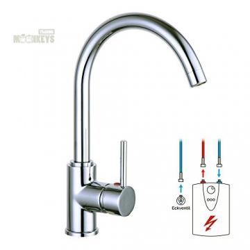 Niederdruck Wasserhahn Spültisch Armatur Küche Mischbatterie mit hohem Auslauf inkl. Befestigungsmaterial und Montageanleitung - 1