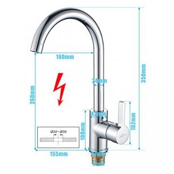 Auralum® 2 Jahre Garantie Niederdruck Mischbatterie mit Groß C Form 360° Drehbar Armatur Wasserhahn Küchearmatur Einhandmischer für Spüle Küche -