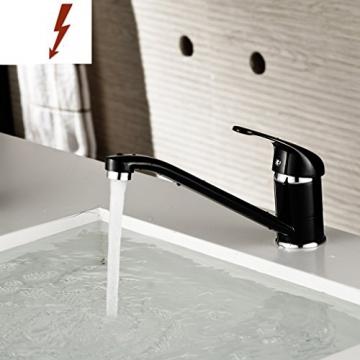 Auralum® Elegant Niederdruck Mischbatterie 360° Drehbar Armatur Wasserhahn Waschtischarmatur Wasserfall Einhandmischer für Spüle Küche mit 2 Jahre Garantie -