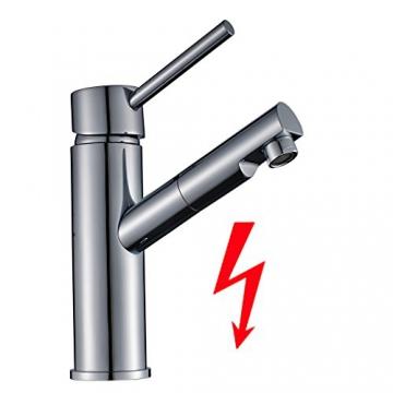 Auralum® Niederdruck Küchenarmatur Wasserhahn Mischbatterie für Küche Armatur Chrom -