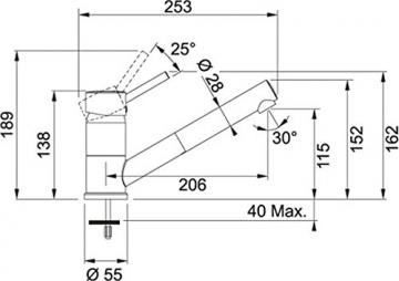 Franke Sinta Graphit Niederdruck Armatur Ausziehauslauf Mischbatterie Dunkelgrau -
