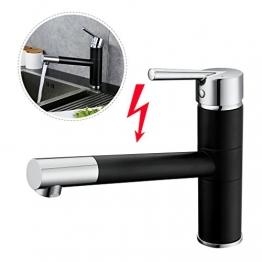 ARUHE® Schwarz Niederdruck Armatur Küchenarmatur Kupfer Mischbatterie 360°Drehung -