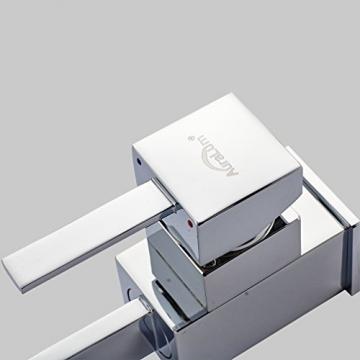 Auralum® Chrom Niederdruck Küche Armatur Küchenarmatur Kupfer Wasserhahn für Warm-Kaltwasser mit drei Anschluss-Schläuche -