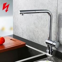 Homelody®Chrom Niederdruckarmatur Wasserhahn herausziehbar Küchenarmatur mit Brause niederdruck armatur Spültisch Spültischarmatur Mischbatterie Einhebelmischer für Küche -