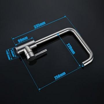 Kinse SUS304 Mischbatterie 360°Drehbar aus Edelstahl mit ABS Bubbler -