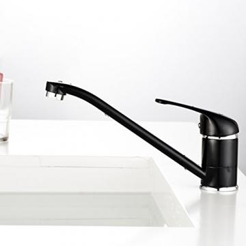 Auralum® 360° Drehbar Niederdruck Wasserhahne Einhebel mit langem Schwenkarm Niederdruck Waschtischarmatur Schwarz -