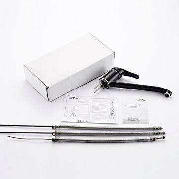 Auralum® Schwarz Chrom Niederdruck Küchenarmatur Kupfer Spültischarmatur Mischbatterie für Küche Armatur -