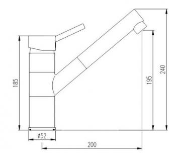 Burgtal 10828 K-6-NGS Selia Einhebel Spültisch Armatur Brause Niederdruck Granit-Schwarz -