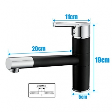 Elegant Niederdruck Küchenarmatur Einhebelmischer 360° Schwenkbereich Mischbatterie Einhandmischer Spüle Wasserhahn Spültischarmatur, Material aus Stufe A Messing【Schwarz】 -