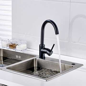 Fapully Niederdruck Mischbatterie 360° Drehbar Armatur Wasserhahn Küchenarmatur Einhandmischer für Spüle Küche Niederdruckarmatur Schwarz -