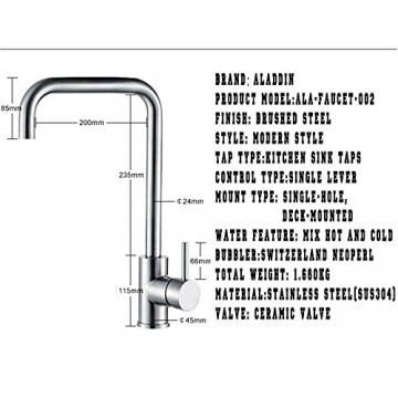 Aladdin [Edelstahl Serie] Bleifrei Einhebel Einzelnes Loch Gebürstetes Küchenarmaturen, 360°Schwenkbar Heiß&Kalt Mischer Einteilige Küchenarmatur mit ABS Gasspüler,60cm Zufuhrschlauch für Küche,Badezimmer,Waschraum -