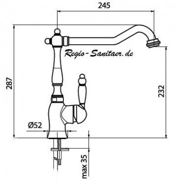 Landhausstil Spültischarmatur Oberfläche gold hochglanz 24 Karat, Küchenarmatur Einhebelmischer Mischbatterie im Nostalgie Retro Antik Design , Serie VALENTINO -