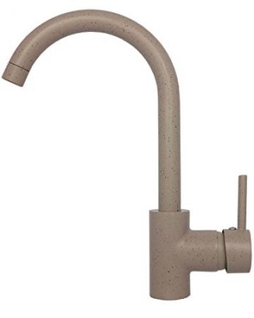 Niederdruck Spültischarmatur Küchenarmatur Mischbatterie Einhebelmischer Wasserhahn Küchen Armatur Waschbeckenarmatur schwenkbar Untertischgerät in Granit Beige C -