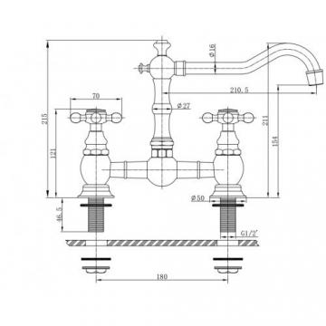 Nostalgische Küchenarmatur/ Spültischarmatur in Bronze - Mizzo Design Adriatico retro armatur / Wasserhahn - Bronze Zweigriffmischer Waschtischarmatur -