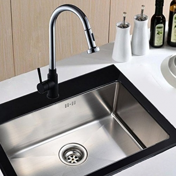 Schwarz Matt Küchenarmatur herausziehbarer Geschirrbrause 2 Strahlarten Hoher Auslauf 360°Schwenkbereich aus Messing verchromt -